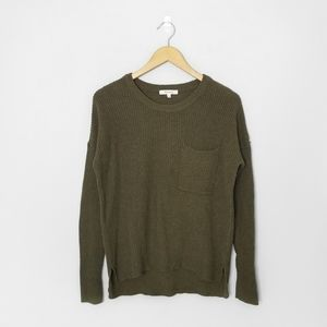 MADEWELL Green Knit Pocket Pullover Sweater
